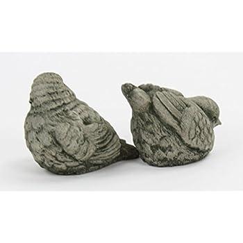 Fleur de Lis Garden Ornaments LLC European Robin Birds Pair Concrete Statues Cement Figurines Cast Stone Yard Art