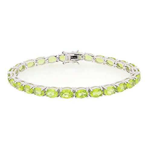 Sterling Silver Natural Peridot Tennis Bracelet (23 3/4 Ct.t.w) 7 Inch