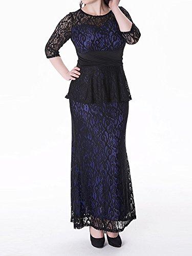 Vintage Mujer Encaje Vestido Largo Elegante Coctel Maxi Manga 3/4 Talla Grande Vestido Azul