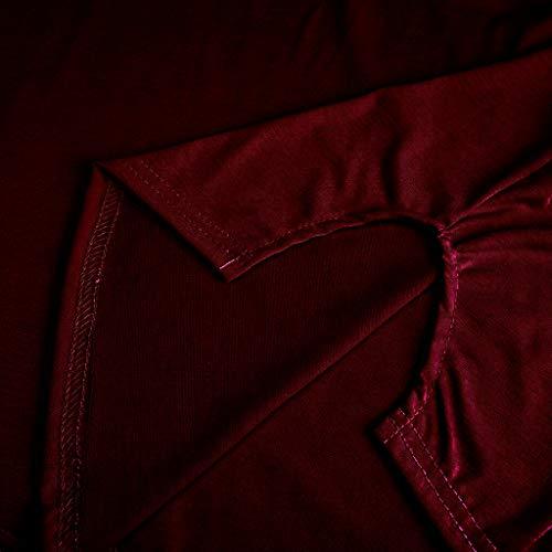 ZEFOTIM ✿ Fashion Casual Dress for Women Crew Neck Asymmetric Hem Plain Sleeveless Dresses(WineRed,X-Large) by ZEFOTIM (Image #4)