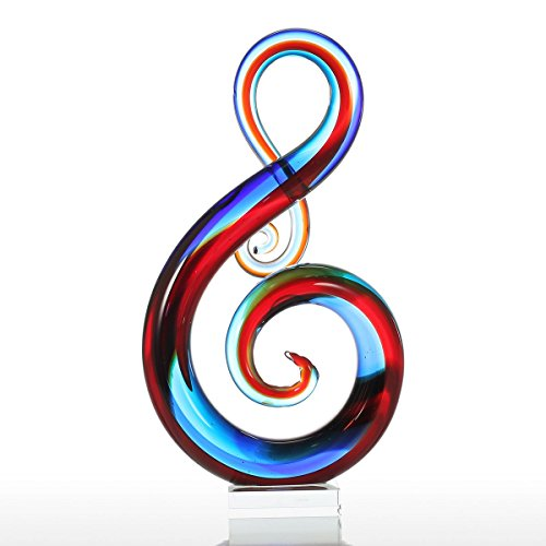 Tooarts Music Note Glass Sculpture Home Decor Ornament Gift Craft Decoration 14″