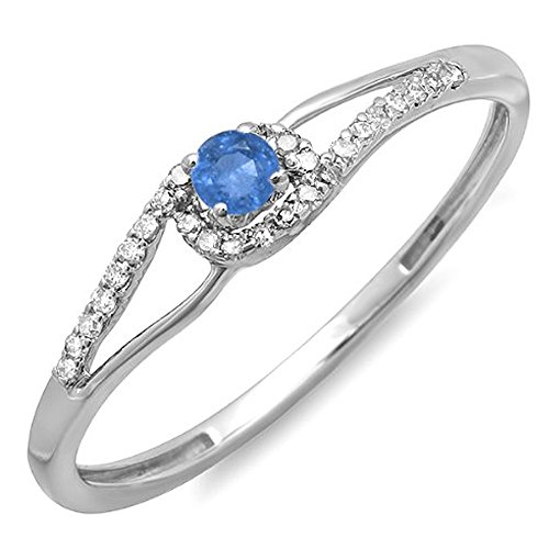 Dazzlingrock Collection 18K Round Blue Sapphire & White Diamond Bridal Engagement Promise Ring, White Gold, Size 10