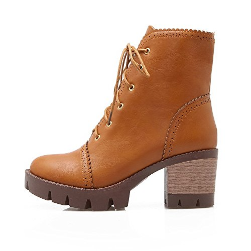 Closed AgooLar Round Heels Brown Kitten Toe Women's Boots Top Solid Pu Low qaqHECw