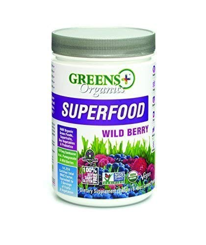 Greens+ Organic Superfood Wild Berry | Essential Blend of Raw Green Foods, Superfruit and Sea Vegetables | Vegan | USDA Organic | Dietary Supplement | Non - GMO, Soy Dairy & Gluten-Free | Size 8.46oz