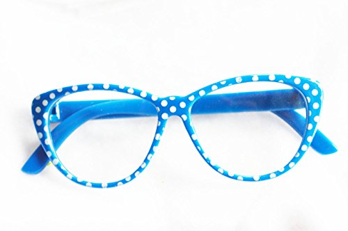 Cyan Blue Polka Dot Sun Glasses For American Girl - Sunglasses Cyan