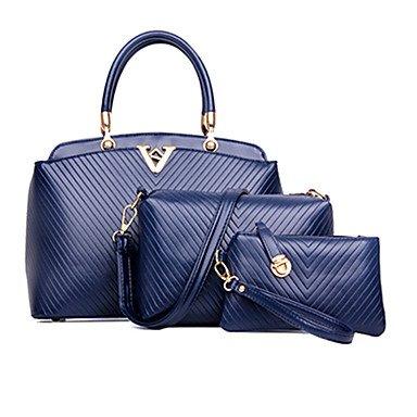 La mujer Cowhide exteriores / oficina / Bolsa de carrera establece,azul oscuro White