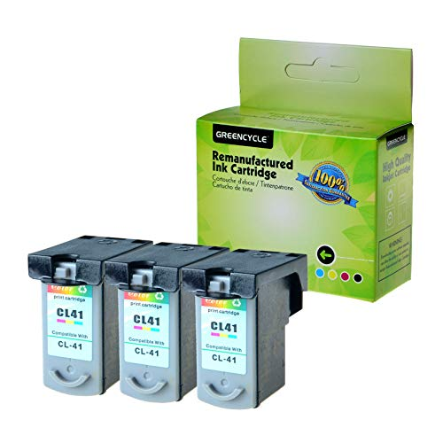 GREENCYCLE 3 Pack Remanufactured CL41 CL-41 Tri-Color Ink Cartridge Compatible with Canon FAX JX200 PIXMA iP1600 iP1800 MP180 MP450 MX310 Printer