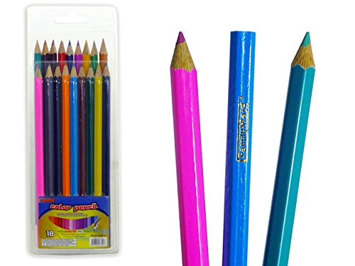 COLOR PENCIL 18PCS DOB BLISTER , Case of 144 by DollarItemDirect