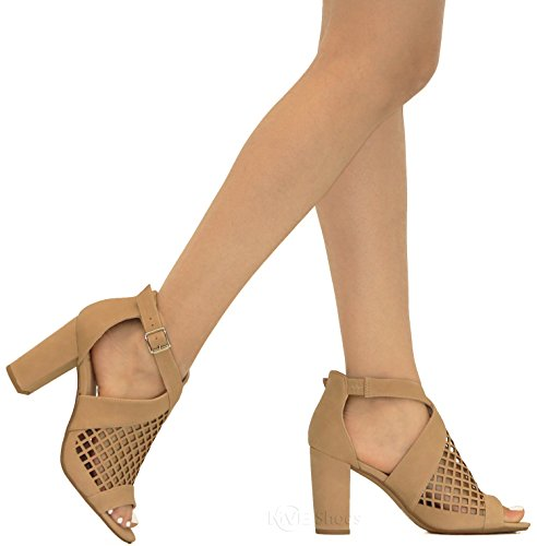 Out Open Women's Heel Chunky Shoes b MVE Toe Sandal Cut Nat 4AwSFwpqXx