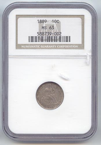 1889 P Seated Liberty Dime MS-63 NGC (1889 Liberty Seated Dime)