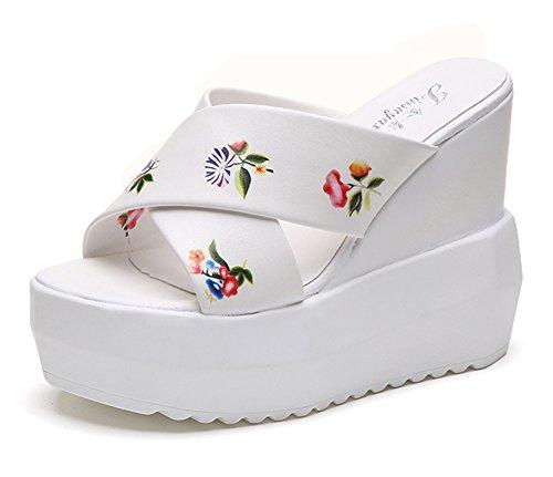 plateaux sandales femmes Blanc filles Night les les et Glisser croisées Ceintures Good hauts florales Pour Estampes Talons sur HCx8qA