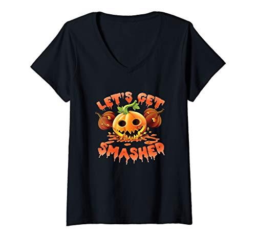 Womens  Lets Get Smashed Halloween Drinking Pun V-Neck T-Shirt]()