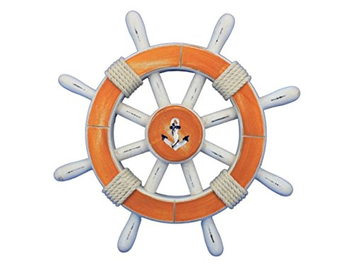 "Hampton Nautical  Decorative Ship Wheel with Anchor, 12"", Rustic Orange/White"