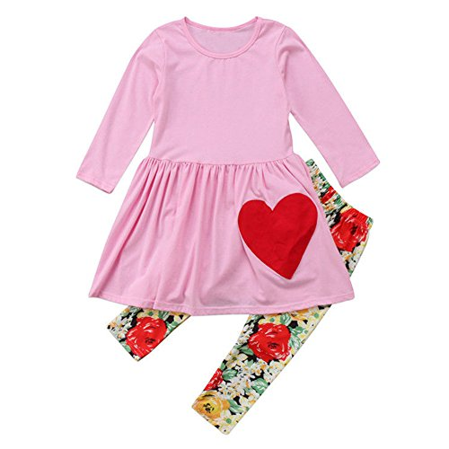 Infant Valentine Outfits (Baby Girls Valentine's Day Outfits Toddler Kids Long Sleeve Tshirt+ Floral Pant Set (Pink, 1-2 Year))