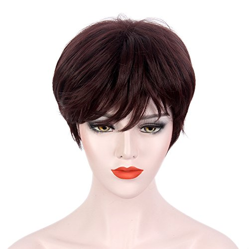 STfantasy Short Pixie Wigs Chocolate Brown Reddish Purple for Women Costume Cosplay Party Synthetic (Chocolate Lab Costumes)