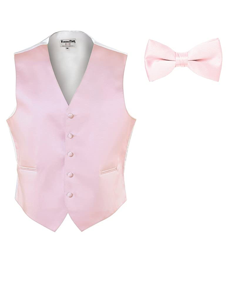Medium EZ Tuxedo Light Pink Satin Vest and Bow Tie and Pocket Square