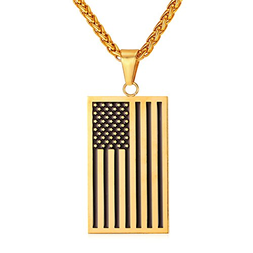 Rectangle Dog Tags Necklace Enamel Plated US Flag Charm Pendant with 18K Gold Plated Chain 24