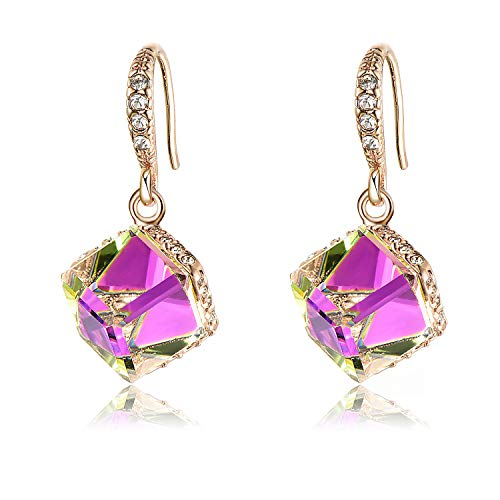 Colorful Cube Swarovski Crystal Earrings for Women Girls 14K Gold Plated Color Changing Drop Earrings (Violet Red/Rose Gold-tone)