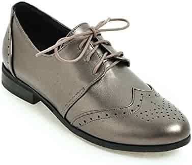 9a6e3270731 Btrada Women Classic Brogue Oxford Shoes Lace-Up Pointed-Toe Casual Shoes