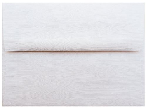 Straight Grain (A-2 Limba White Embossed Wood Grain RSVP Envelopes (Straight Flap, (4 3/8