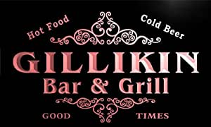 u16743-r GILLIKIN Family Name Gift Bar & Grill Home Beer Neon Light Sign
