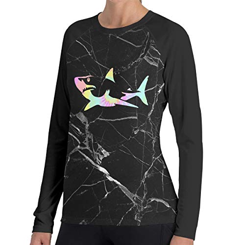 (Tie Dye Shark Long-Sleeved T-Shirts, Casual 100% Polyester Polo Shirt for Womens)