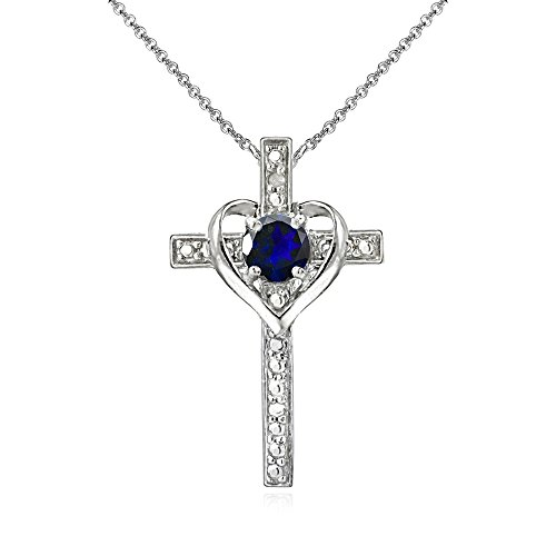 GemStar USA Sterling Silver Created Blue Sapphire Cross Heart Pendant Necklace for Girls, Teens or Women (Necklace Pendant Sapphire)