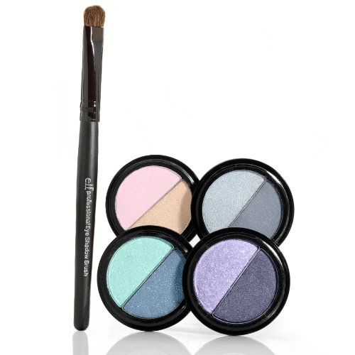 e.l.f. 4 Piece Duo Eyeshadow with Eyeshadow Brush, Night, 0.