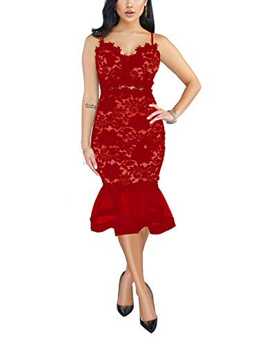(Women's Spaghetti Strap Cut Out Detail Mermaid Bodycon Bandage Evening Party Dress Red)