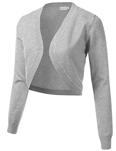 Women's Cropped Open Front Bolero Shrug Long Sleeve Knit Cardigan HEATHERGREY L