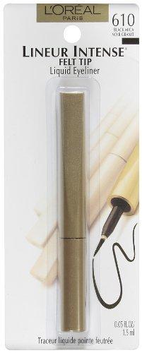 L'Oreal Lineur Intense Felt Tip Liquid Eyeliner, Black Mica [610], 0.05 oz (Pack of 3)