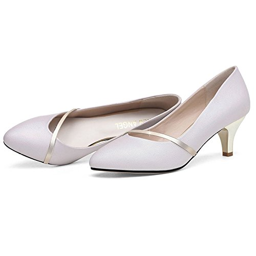 Women's Elegant Pointy Toe Pumps Slip On Kitten Heels For Dress Wedding Party Office Shoes Pink