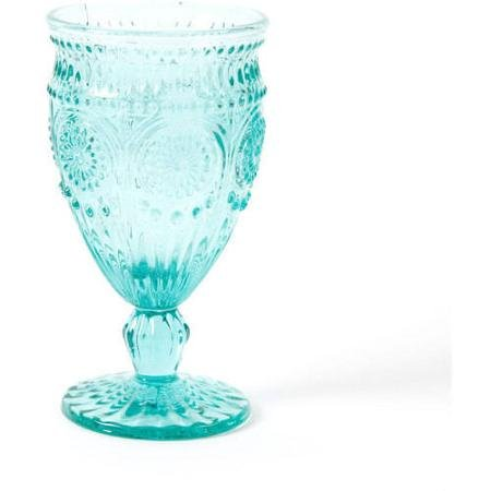The Pioneer Woman Adeline Embossed 12-Ounce Footed Glass Goblets, Set of 4, Turquoise by The Pioneer Woman (Image #2)