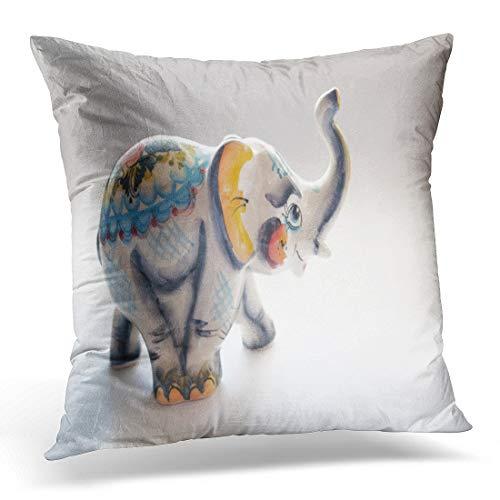 Emvency Throw Pillow Cover Closeup White Animal Elephant Statue Porcelain Beautiful Ceramic Craft Decorative Pillow Case Home Decor Square 18