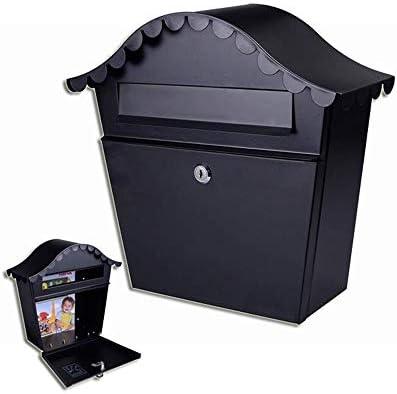 郵便受け ポスト レトロスタイルのメールボックス防水と耐久性に優れたホーム会社アイアンレターボックス 民間住宅企業に適しています (Color : Black, Size : 34.5x31.5x10.6cm)