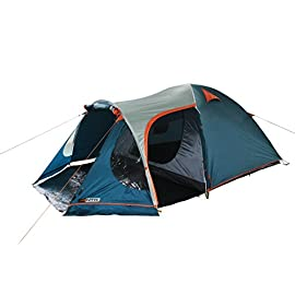 NTK INDY GT 4 to 5 Person 12.2 by 8 Foot Outdoor Dome Family Camping Tent 100% Waterproof 2500mm, European Design, Easy Assembly, Durable Fabric Full Coverage Rainfly - Micro Mosquito Mesh. 124 DESIGNED FOR QUICK & EASY ASSEMBLY - The INDY 4- 5 person tent is great for all the family . With easy assembly, the spacious European design one door tent weighs 12lbs with a comfortable floor size of 12.8ft x 8ft (sleep area of 8ft x 7ft) and 4.7ft center height for maximum comfort. DOUBLE LAYER FULL COVERAGE RAINFLY - 100% waterproof 190T polyester laminated with polyurethane. 2500mm water column rainfly provides full coverage, while the heat-seamed thermoplastic coating offers UV protection. Inner tent has a large 2-way zipper D-style door with full mosquito mesh protection. Roomy utility pocket for storage and ventilated mesh roof. European design delivers a unique front vestibule that has an awning and side door with a detachable PE tarp floor. THICK NANO-FLEX TECHNOLOGY FRAME - Extra thick Nano-flex fiberglass poles interconnect with double gold chrome plated ferrule hardware and strong elastic , offering a sturdy construction . Made with 100% virgin material to provide additional strength and flexibility.