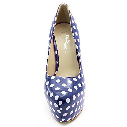 Femmes Extrême Haute Couture Pointu Toe Plate-forme Cachée Sexy Talon Haut Talon Pompe Chaussures Bleu Blanc Polka Dot En Cuir Verni