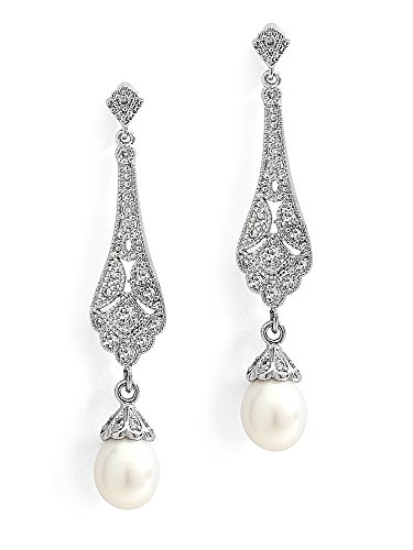 (Mariell Cubic Zirconia Vintage Art Deco Dangle Earring with Freshwater Pearl Drops for Brides or Weddings)