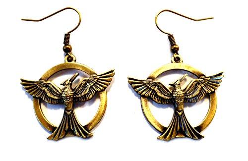 Gold-tone Hunger Games Mockingjay Movie/TV Theme Charm Dangle Earrings W/Gift Box
