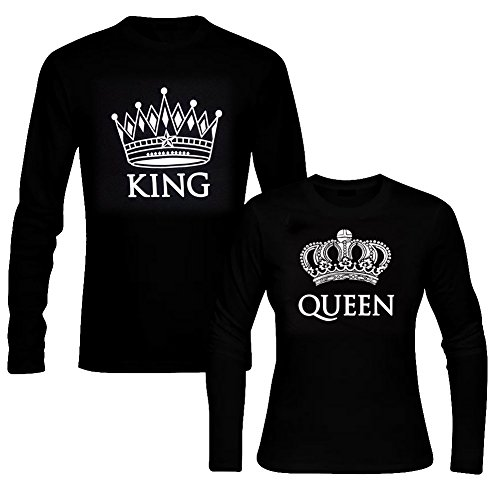 picontshirt King & Queen Long Sleeve Black Couple T-Shirts Men XL/Women M - Female Singapore Model