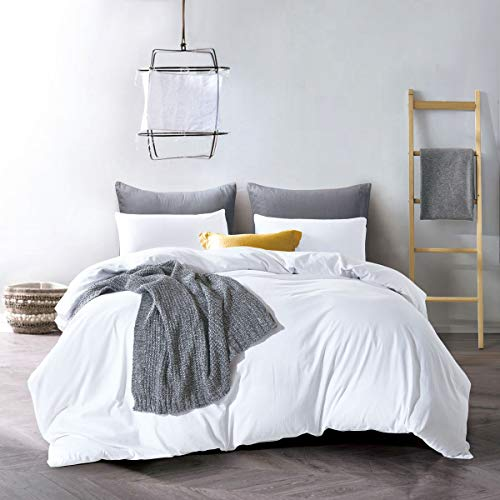 (ATsense Duvet Cover Queen, 100% Washed Cotton, Bedding Duvet Cover Set, 3-Piece, Ultra Soft and Easy Care, Simple Style Farmhouse Bedding Set (White)