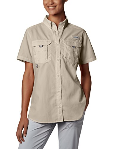 (Columbia Women's PFG Bahama Short Sleeve Shirt , Fossil, Medium)
