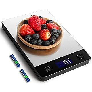 Amiloe 33lb Kitchen Scale with 6 Units, Food Scale Digital Weight Grams and Oz, 1g/0.1oz Precise Graduation for Cooking Baking, Stainless Steel and Tempered Glass, 2 AAA Batteries Include