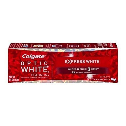 Colgate Optic White Platinum Express White Toothpaste, Fresh Mint 3 oz (Pack of (Platinum Mint Toothpaste)