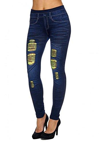 strappati da Look Jeans distrutti donna Blu giallo Treggings D1892 Hosen ArizonaShopping EARqtw