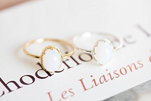 Gold Moonstone Ring,anniversary Ring,cute Rings,rings for Women,princess Cut Rings,vintage Style Rings,jewelry,moon Stone Jewelry Rings (7) 11R-00297