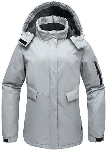 Wantdo Women's Hooded Mountain Fleece Waterproof Parka Jacket Outdoor Windproof Ski Coat Gray US (Gray Ski)