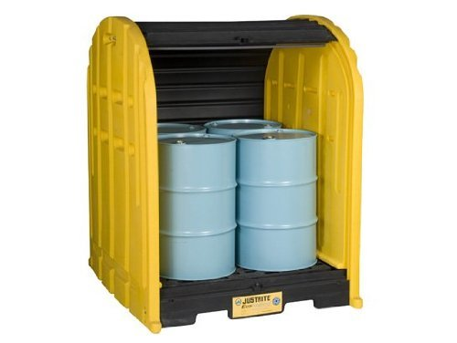 Justrite 28676 EcoPolyBlend 79 Gallon, 60.75'' x 68.50'' x 75.25'' (LXWXH), 5000 lbs Load Capacity 4 Drum Outdoor Drum Sheds