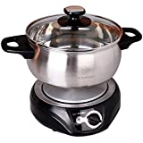 1.8L LIVEN Electric Hot Pot with Separated 304 Stainless Steel Pot for Shabu Shabu Cooking Noodles Boiling Water Personal Mini Travel Pot Small Electric Cooker 1000W 120V DHG-180F