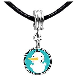 Chicforest Silver Plated Christmas Snowman Photo Sapphire Crystal September Birthstone Flower dangle Charm Beads Fits Pandora Bracelets
